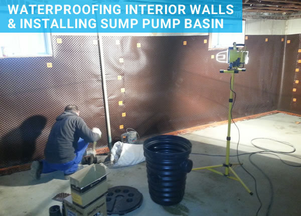 waterproofing foundation walls and installing sump basin