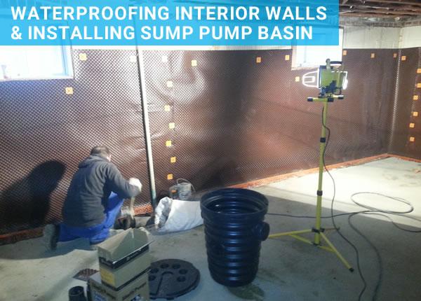waterproofing foundation walls and installing sump basin