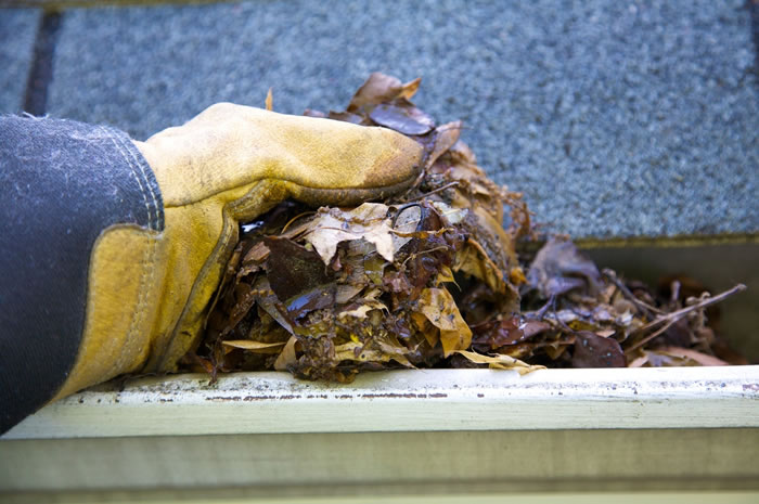 cleaning clogged roof gutters
