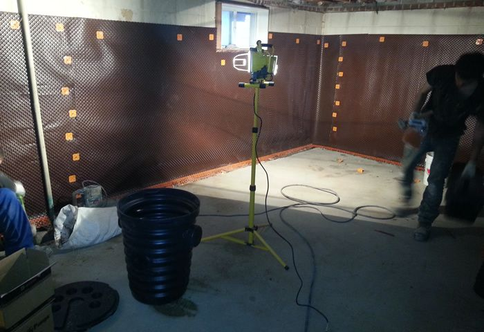 internal basement waterproofing toronto project